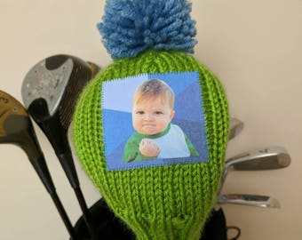 Meme, Success Kid, Golf Headcover, Golf Club Cover, Golf Head Cover,  Unique Golf Gifts, Inspirational, hole in one, driver headcover