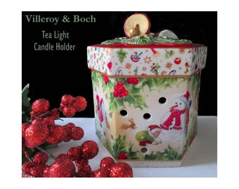 Tea Light Candle Holder * Villeroy & Boch * Hexagon Shape With Cover * Original Box * Charming Christmas Decor