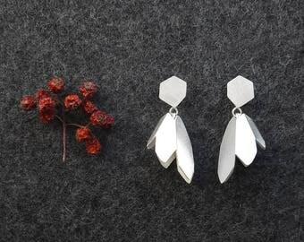 Flower Drop Earrings, Flower Silver Earrings, Silver Drop Earrings, Silver Dangled Earrings, Industrial Earrings, Flower Statement Earrings