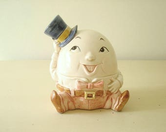 Humpty Dumpty piggy bank, mid-century ceramic child's savings bank, adorable new-baby gift, nursery rhyme lover