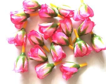 20 pcs artificial pink rose bud flower heads  width 20 mm x length around 45 mm