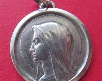Vintage French Silver Virgin Mary Religious Medal Lourdes Pendant   SS415