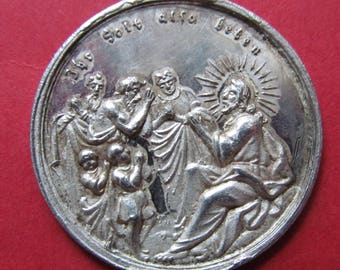 Antique Silver German Jesus  Religious Medal Circa Late 1700's    SS504
