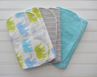 Gender Neutral Baby Burp Cloth Set, Elephants in Blue, Grey, Aqua Dots, Stripes, Baby Girl Burps, Baby Boy Burps, Cotton Chenille Burp Cloth