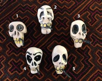 Smoking Skull Myndmonster. Hand-sculpted ceramic pendant. Modern talisman