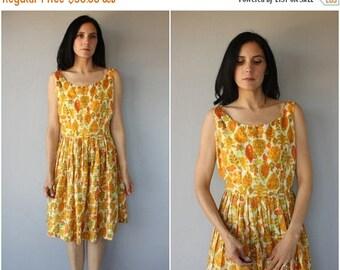 48 HR FLASH SALE Vintage 1960s Dress   60s Dress   1960s Silk Party Dress   50s Party Dress   1950s Sun Dress   Printed Sun Dress 60s - (lar