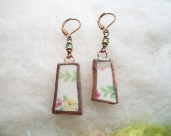 Broken China Earrings Small Delicate Minimal Rose Garland Floral Earrings Recycled Glass Upcycled Dishes Cups Copper Bezel Mosaic Earrings