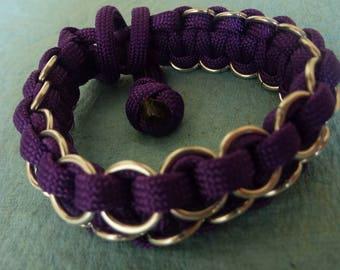 Purple paracord bracelet w/ aluminum chainmaille rings