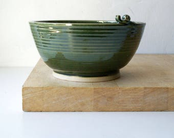 SECONDS SALE - Handmade stoneware fruit bowl in forest green with snail