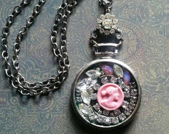 Vintage Cameo Necklace - Antique Watch Case, Pocketwatch Assemblage Necklace - Victorian Cameo,  Vintage Rhinestones Necklace One of a Kind