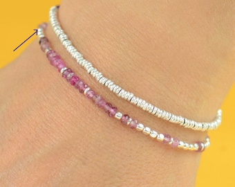 Pink Tourmaline  and sterling silver beads  bracelet