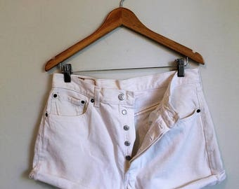 SPRING SALE Levi's Jean Shorts, Button Fly Cut Offs, Levi's 501 Shorts, White Jean Shorts, High Rise, 33 Waist, Levi's Jeans, White Levi's 5