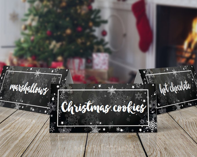 Snowflake Food Label, Cocoa & Cookies, Winter One-derland Party, Winter Wonderland, Chalkboard | INSTANT Download Printable PDF