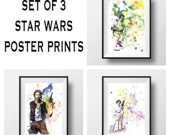 Star Wars Poster Art Print Set of 3 Star Wars Decor Star Wars Baby Nursery Art Star Wars Poster Print Star Wars Print Star Wars Gift Poster
