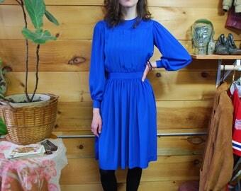 70s polyester cobalt blue secretary dress extra small