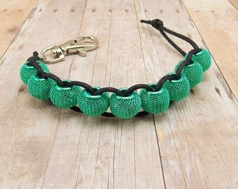 Golf Score or Stroke Counter - Clip - Black Cord with Metallic Mint Green Mesh Beads - Non-Elastic - 9 Beads - Knitting Row Counter