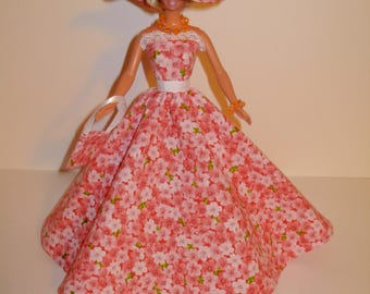 Handmade Barbie clothes - Beautiful floral gown with hat necklace bracelet and bag 4 barbie doll