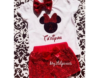 Minnie Mouse Birthday Shirt , red sequin shorts , red sparkle shorts, red sequins hair bow, birthday outfit. Minnie Mouse Birthday