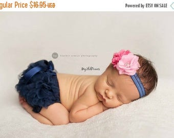 SALE Headband and Ruffle Bloomer, Baby girl Set- Baby Bloomer with satin bow, Flower Headband, Newborn, infant, diaper cover -Ready to ship