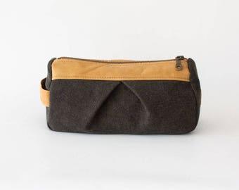 Denim makeup bag in brown and light brown leather, pencil case makeup bag cosmetics case toiletry case accessory bag - Estia Bag