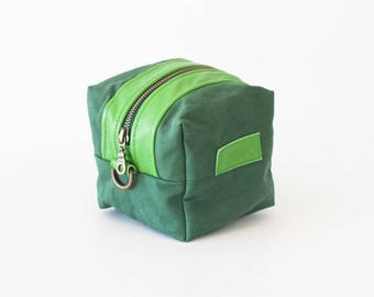 SALE Makeup bag in green canvas and Green leather, cosmetic storage case accessory bag utility case - Cube