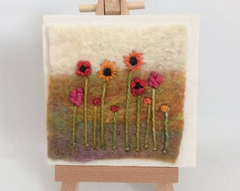 Summer flower Mini felted Canvas