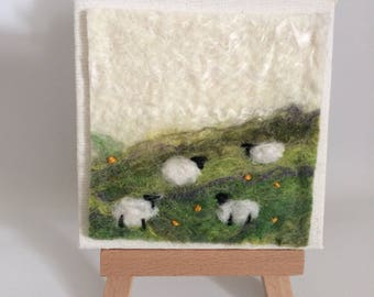 Original mini felted sheep canvas and easel