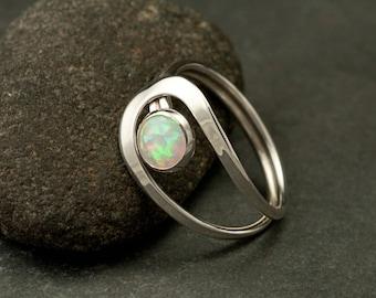 Opal Ring, Silver Opal Ring, Gemstone Ring, Sterling Silver Stone Ring, Handmade Sterling Silver Jewelry: Sizes 4-11