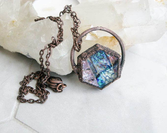 Boho necklace Pink-blue Fused Glass Pendant Electroformed Copper Necklace Modern Jewelry Large Glass Pendant Statement necklace OOAK