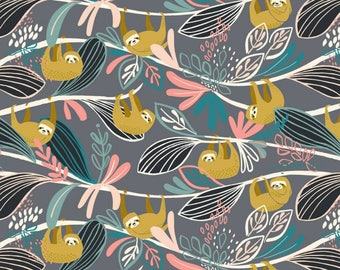 Blend Fabrics - Rainforest Slumber Collection - Lazing Sloth in Pink