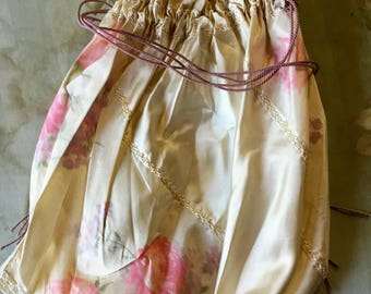 19th c Silk Turn of the Century Rose floral,pattern, drawstring Purse Marie Antionette Doll Boudoir