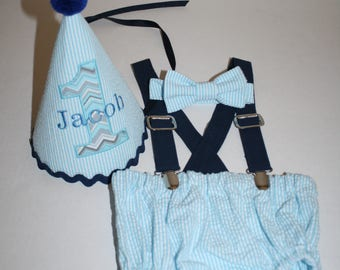 baby boy cake smash outfit boys first birthday outfit navy blue gray 1st birthday hat suspenders diaper cover bow tie birthday hat