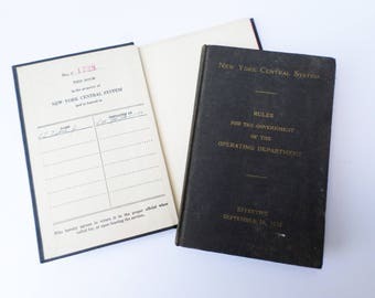 New York Central System Railroad Book, RR Operating Rules, 1937 NYS Railroad Book, Association of American Railroads, Railroad Collector