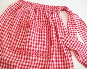 Vintage Apron, Red and White Checks, Hand Embroidered