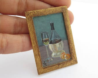 Original Miniature Painting, Still life, Dollhouse Miniature Painting, Private Collection Christmas Gift, Wine and Peaches
