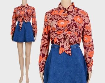 Vintage 60s Floral Crop Top | 2 Pc Matching Set | Hippie Cropped Blouse | Tie Front Mod Top | Orange Brown | Medium Large M L