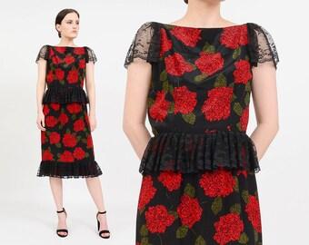 SALE Vintage 80s Adele Simpson Silk Floral Dress | Black Lace Dress | Peplum Dress | 1980s Party Cocktail Dress | Black Red Roses | Medium M