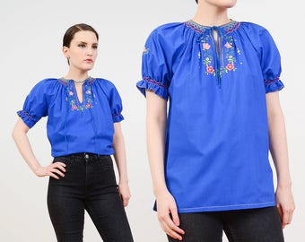 70s Blue Blouse | Hand Embroidered Top | Puff Sleeve Peasant Top | Floral Embroidery | Hippie Cotton Top | Boho Blouse | size S M