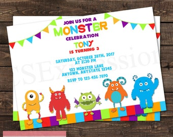 Colorful Monster Celebration Bunting Banner Birthday Invitation