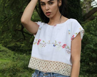 Crop Top Vintage Floral Top Boho Embroidered Lace Crochet Pretty Top