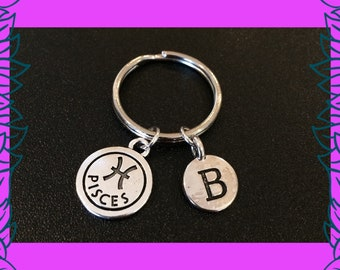 Pisces gift idea, February birthday, March birthday gifts, Pisces star sign keyring, personalised astrological zodiac, letter charm