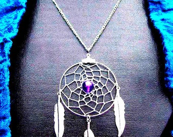 Amethyst  POWER OF THREE Silver necklace with Amethyst Dreamcatcher, amethyst dreamcatcher necklace, silver dream catcher necklace