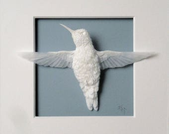 Paper Hummingbird Sculpture Art Serenity Ready to Ship