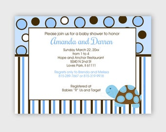 Blue Mod Turtle Boy Baby Shower Customized Invitation, Printable Digital File bs-132