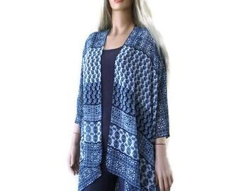 Moroccan Blues/ Kimono cardigan-Shades of blue and Tile print-Lagenlook kimono chiffon kimono-ruana
