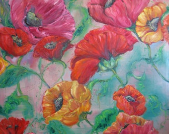 large abstract poppy giclee from oil painting,impasto painting, floral poppies art,garden art, wall decor,home decor