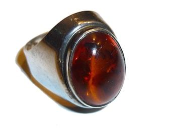 Amber & Silver Ring. Modernist Vintage HERMANN SIERSBOL Ring Size 8. Circa 1950s. Denmark Danish 835 Silver. Marked HS 835S