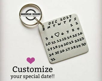 CALENDAR KEYCHAIN, Hand Stamped Aluminum, Date Highlighted with Heart, Valentine's Day, Anniversary, Wedding, Birthday, Graduation,