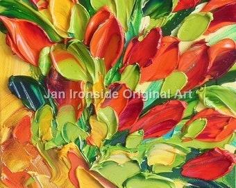 Oil Painting, red Tulips, Fine art,  Impasto, wedding gift