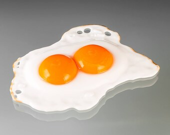 Fried Egg Glass Sculpture, Double Yolk Sunny Side Up, life-sized hand blown glass art  birthday gift, anniversary gift for cook, gourmet